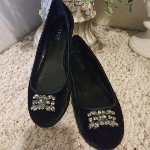 Like New Lauren Ralph Lauren Black Velvet Flats